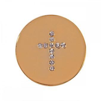 Nikki Lissoni Sparkling Cross Small Gold Plated Coin C1201GS Nikki Lissoni Sparkling Cross Small Gold Plated Coin C1201GS