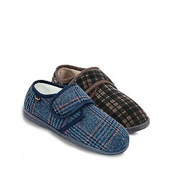 Chums Pack of 2 Dr Keller Mens Wide Fit Touch Fasten Slipper