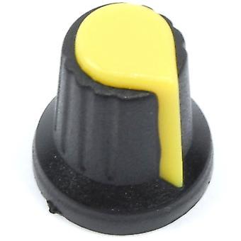 Sárga fekete vezérlőgomb - 6 mm-es tengely