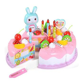 37pcs Kitchen Cake Food- Diy Pretend Play Fruit Cutting Birthday For, Plastic