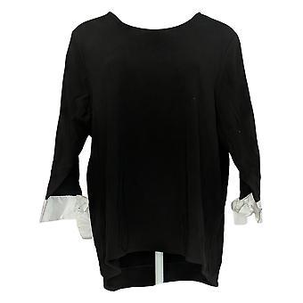 BROOKE SHIELDS Timeless Women's Top Hi-Low Hem Tie Sleeve Black A349670