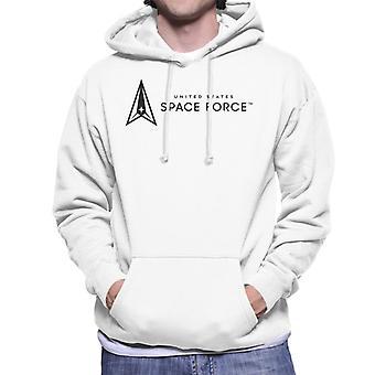 U.S. Space Force Dark Text Alongside Clear Logo Men's Hooded Sweatshirt