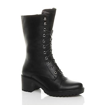 Ajvani womens mid block heel lace up combat military boots shoes size