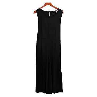 Du Jour Petite Jumpsuits Cropped Wide Leg W/Tie Waist One-Piece Black A366248
