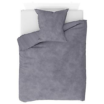 2-tlg. Bettwäsche-Set Fleece Grau 155 x 220 / 80 x 80 cm
