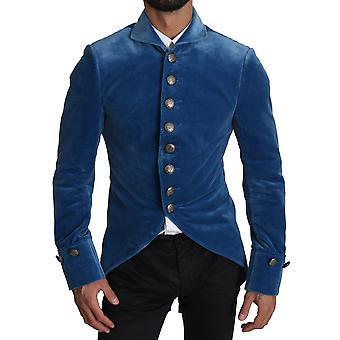 Blue velvet blazer slim coat cotton jacket