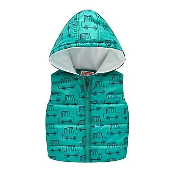 Sleeveless Hooded Wool Vest Warm Outwear Clothes - Cartoon Print Coat (set-1)