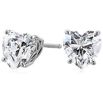Platinum Plated Sterling Silver Heart-Shape Stud, Platinum-Plated, Size No Size