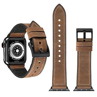 Verrückte Pferd Textur TPU + Edelstahl Armband für Apple Watch Serie 5 & 4 40mm / 3 & 2 & 1 38mm(Braun)