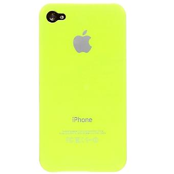 Iphone 4 og 4s Hard Plastic Cover Bagetui med Apple-logo - Neon Gul