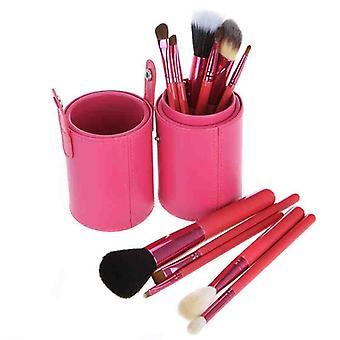 Vaaleanpunainen nahka kuppi 12 muodostavat harjat cup asettaa vuohi / poni / synteettinen hiukset alumiini ferrule luonnollinen puu kahva
