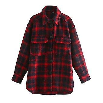 Hosszú tweed kabát zsebekkel