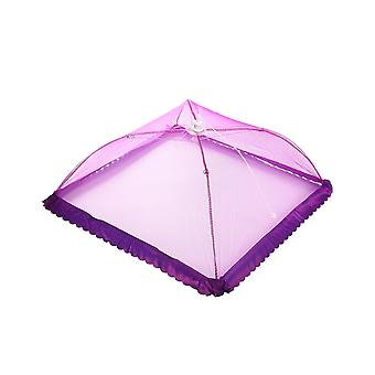 4pcs 50*50*30cm Folded Mesh Screen Food Cover Tents with Lace Purple