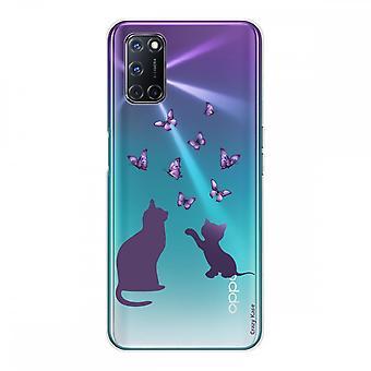 Scafo per Oppo A72 in silicone morbido 1 mm, gattino che gioca con butterfly