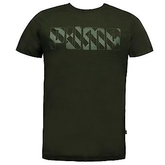 Puma Brand Graphic Męski t-shirt krótki rękaw top casual khaki 853376 15 DD50