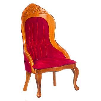 Dům pro panenky ořech & Červené dámské křeslo křeslo viktoriánský obývací pokoj nábytek