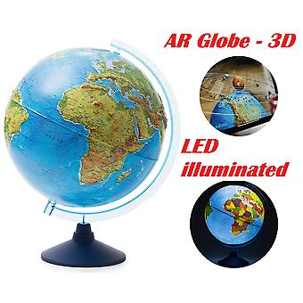 Exerz 32cm relief illuminated ar globe with cable free led light- physical/political dual map- augme