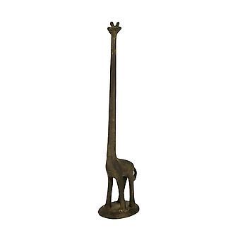 Rustic Brown Cast Iron Long Neck Giraffe Paper Towel Holder