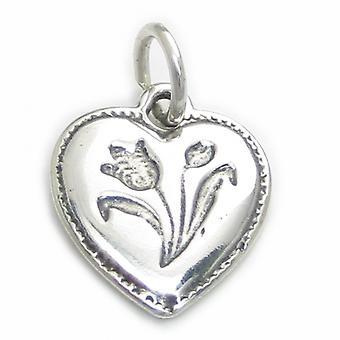 Tulip On Heart Sterling Silver Charm .925 X 1 Tulips Hearts Charms - 3216