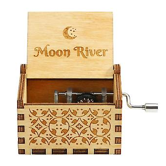 Antique Carved Moon River Music Box Rose Wedding Decoration Digital Baby Theme