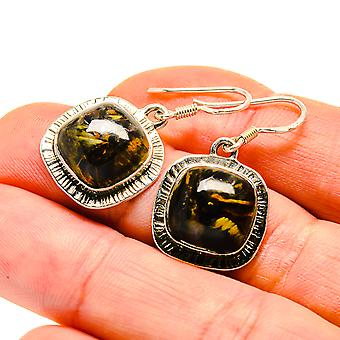 "Pietersite Earrings 1 1/4"" (925 Sterling Silver)  - Handmade Boho Vintage Jewelry EARR411109"