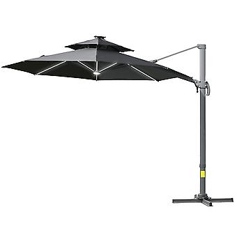 Outsunny 3m Cantilever Roma Parasol with LED Solar Lights Cross Base Adjustable Canopy 360° Rotating Sun Umbrella 2-Tier Shade Shelter – Grey