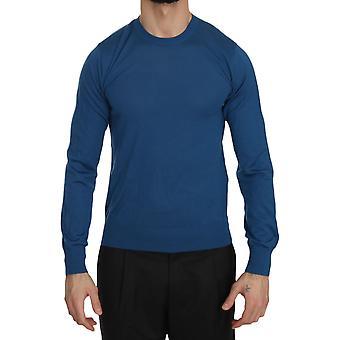Dolce & Gabbana Blue Cashmere Crewneck Pullover Sweater