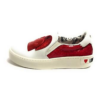 Zapato de mujer Amor Moschino Slip On En piel blanca / rojo Ds19mo05
