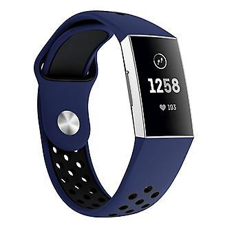 """רצועת יד דו-צבעית עם רצועת יד סיליקון עם חור עגול לטעינת Fitbit 3, רצועת פרק כף היד גודל: 145-210 מ""""מ (כחול שחור)"""