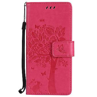Cat print leather case with slot for Samsung Galaxy A70e - Dark pink