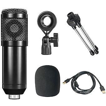 Usb condenser micrófono estudio grabación micrófono transmisión en vivo conjunto de micrófono teléfono k canción karaoke cantar