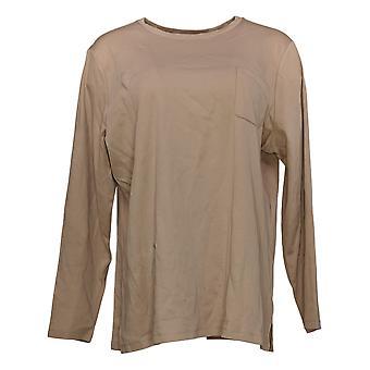 Isaac Mizrahi En direct! Women's Top Essential Pocket Long Sleeve Brown A389173