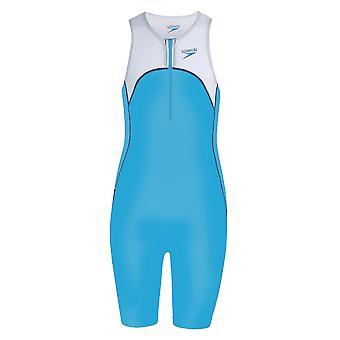 Speedo Proton Triathlon Junior Kids Swim Swimsuit Trisuit Suit Azul/Branco
