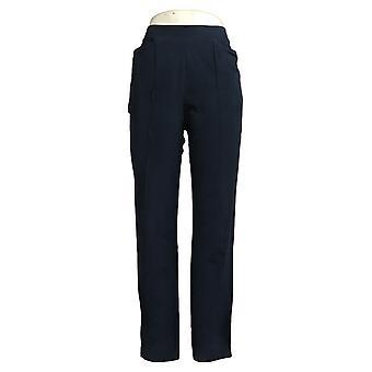 Susan Graver Women's Pants XSWeekend Reg Cotton Spandex Slim-Leg Blue A384273