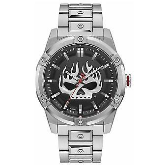 Harley Davidson Men's Flaming Willie G Skull | Stainless Steel Bracelet 76A164 Watch