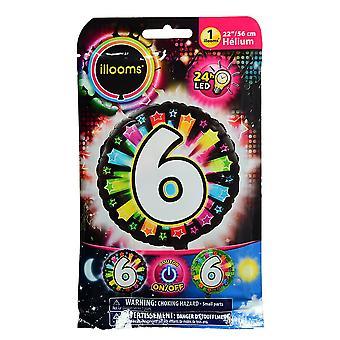 Aluminium ballon nummer 6 veelkleurige LED Illooms® 50 cm