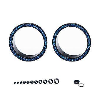 Tunnels vis ajustement ip noir avec bleu cubique zirconia bijoux vendus comme une paire