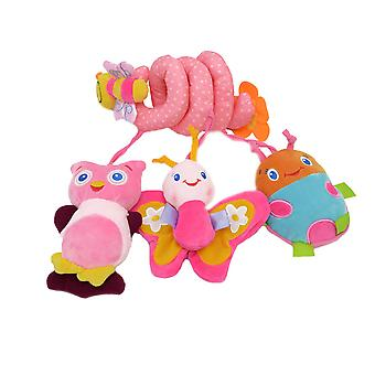 Bee Pram Crib Toy With Bb Device Music Box Bell Lovely Baby Spiral Toy Plush Activity Spiral For Infant 0-2