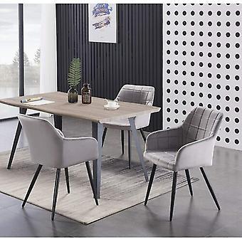 Lusso & Carmello Dining Set | Modern Dining Table | Velvet Dining Chair | Modern Set |  (light Walnut & Light Grey)
