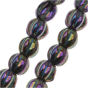 Czech Glass - Round Melon Beads 5mm Diameter 'Purple Iris' (50)