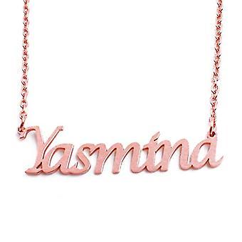 KL Yasmina custom nimi Rose kullattu kaulakoru 18 karat säädettävä ketju 16 19 cm.