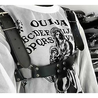 Punk Women Circles Rivets Shoulder Strap Adjustable Buckles Belt