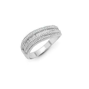 Jewelco London Solid 18ct White Gold Channel Set Baguette G SI1 0.59ct Diamond Wavy Ribbon Eternity Ring 6mm