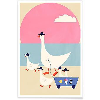 JUNIQE Print - Gäss på semester - Ducks Affisch i blått & rosa