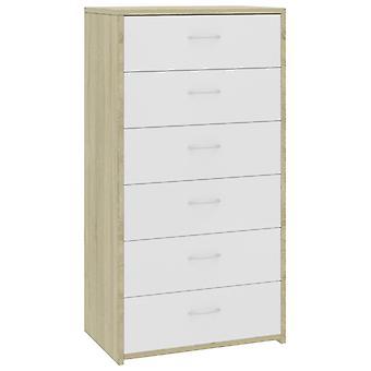vidaXL Sideboard mit 6 Schubladen Weiß und Sonoma-Eiche 50×34×96 cm