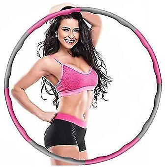Pink and grey weighted foldable hula hoop abdominal trainer fitness hula for adults 1.2kg 8 knots az8225