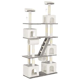 vidaXL Cat scratching post with sisal scratching columns White 225 cm