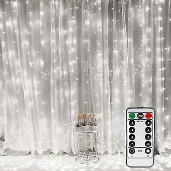 White 3mx3m led light curtain 300 leds usb waterproof 8 modes white light dt6910
