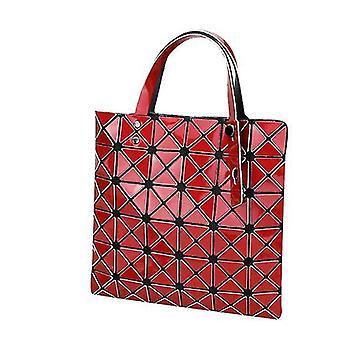 Holografisk geometrisk tyghandväska handväska för kvinnor (röd)