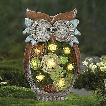 Hage dyr statue dekorasjon, solcelledrevet harpiks ugle sollys, dyr figurin lys lampe, ugle ornamenter utendørs